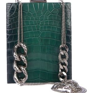 Giorgio Armani Crocodile Green Clutch w/chain $5K